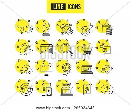 Marketing Line Icons. Set Of Strategy, Feedback And Advertisement Campaign Signs. Research, Communic