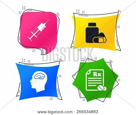 Medicine Icons. Medical Tablets Bottle, Head With Brain, Prescription Rx And Syringe Signs. Pharmacy