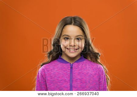 Girl Cute Child Happy Smiling Face. Child Long Hair Happy Smiling. Happy Childhood Concept. What Sci