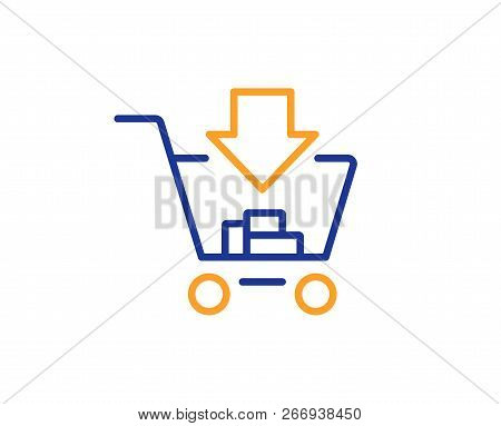 Add To Shopping Cart Line Icon. Online Buying Sign. Supermarket Basket Symbol. Colorful Outline Conc