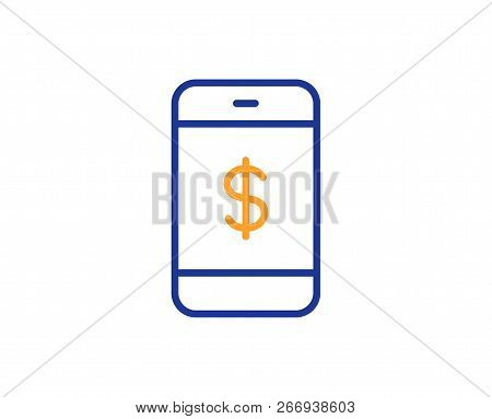 Mobile Shopping Line Icon. Smartphone Online Buying Sign. Dollar Symbol. Colorful Outline Concept. B