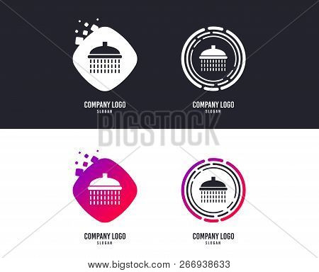 Logotype Concept. Shower Sign Icon. Douche With Water Drops Symbol. Logo Design. Colorful Buttons Wi