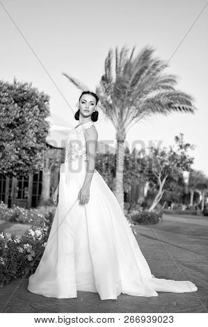 Stunning Beauty. Bride Luxury White Wedding Dress Sunny Day Tropic Nature Background. Tropic Wedding