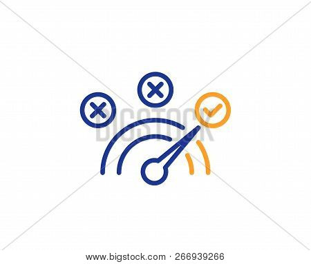 Correct Answer Line Icon. Speedometer Concept Sign. Check Symbol. Colorful Outline Concept. Blue And