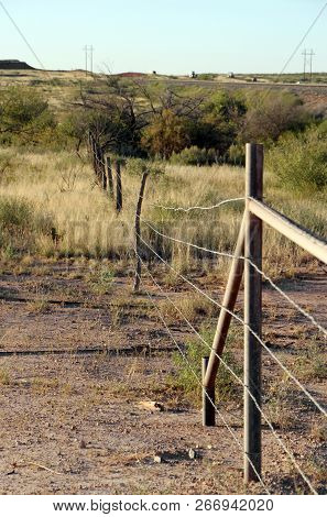 Old Cattle Fence In West Texas Usa