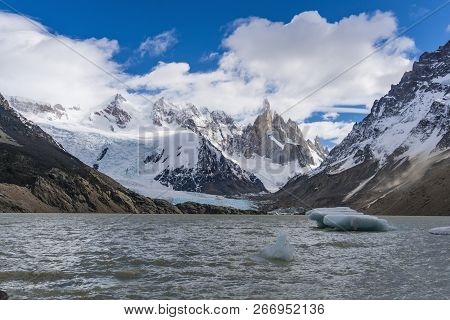 View Of Cerro Torre Mountain, Glacier And Iceberg At Los Glaciares National Park In Argentina