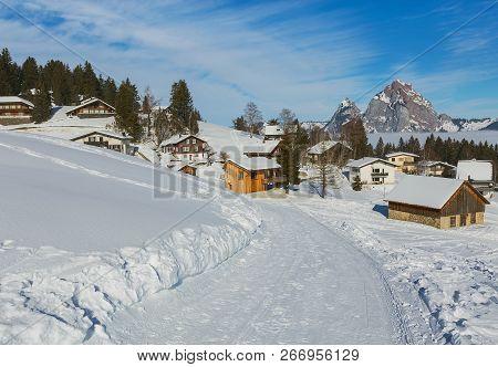 Village Of Stoos In The Swiss Canton Of Schwyz In Winter, Kleiner Mythen And Grosser Mythen Summits