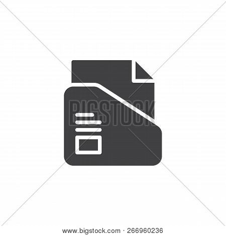 File Folder Vector Icon. Filled Flat Sign For Mobile Concept And Web Design. Folder With Paper Docum