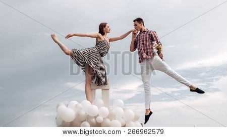 High Flying Romance. Ballet Couple Into Love Relations. Romantic Relations Between Ballerina And Bal