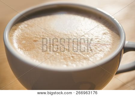 Fresh Morning Coffee With Milk And Cream Froth. Perfect Morning With Americano Or Espresso Coffee. B