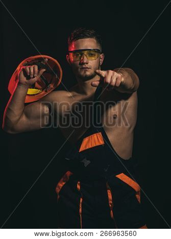 I Choose You. Muscular Man With Hard Hat In Uniform. Man Worker With Muscular Sexy Body. Constructio