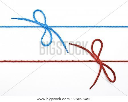 Blue and red shoelace with bows