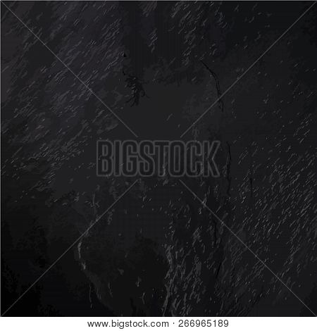 An Abstract Black Slate Background, A Dark Texture With A Place For Text, A Vector Illustration