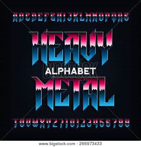 Heavy metal alphabet font. Metal effect beveled letters, numbers and symbols. Stock vector typescript for your design. poster