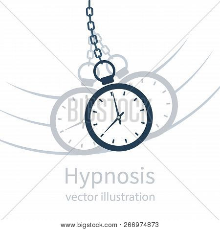 Hypnosis Icon Concept Black Silhouette. Watch On A Chain Pictogram. Golden Pocket Watch. Pendulum Sw