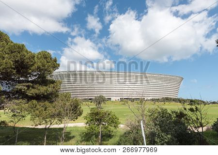 Cape Town, South Africa, August 17, 2018: The Cape Town Stadium At Green Point  As Seen From The Cit