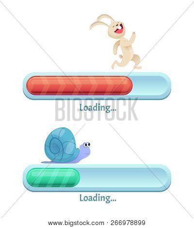 Fast Download Bar. Business Concept Of Computer Internet Conection Type Quick Rabbit And Slow Snail