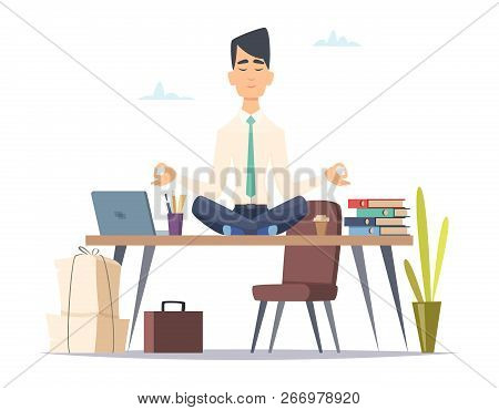 Businessman Yoga Meditation. Office Relax In Stressed Work Busy Man Sitting In Lotus Yoga Practice A