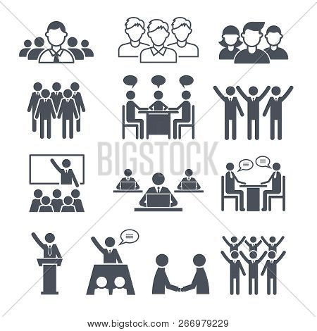 Corporate Team Icons. Professional People Business Networking Conference Crowd Or Group Training Vec
