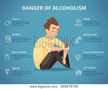 Alcoholism Infographic. Alcohol, Drugs Addiction Dangerous Drunk Driving Car People Social Placard.