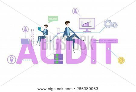Audit Word. Concept Table With People, Letters And Icons. Colored Flat Vector Illustration On White