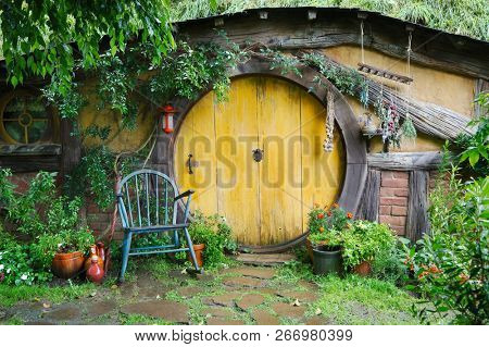 MATAMATA, NEW ZEALAND - APRIL 2, 2016: Movie set for the Lord of The Rings and The Hobbit