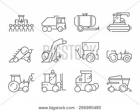 Farm Vehicles. Tractor Harvester Buldozer Village Heavy Machinery Construction Agriculture Vector Ic