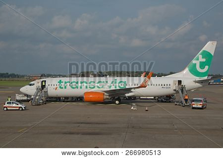 ROTTERDAM, THE NETHERLANDS - SEPTEMBER 12, 2017: Transavia Boeing 737-800 airliner at Rotterdam The Hague Airport. Transavia is a Dutch low-cost airline, a subsidiary of KLM