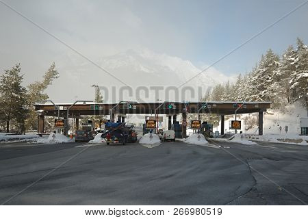 FREJUS TUNEL, FRANCE - FEBRUARY 4, 2015: Paying gates at the entrance of Frejus Tunnel in the Alps, a 13 kilometer road tunnel connecting France and Italy