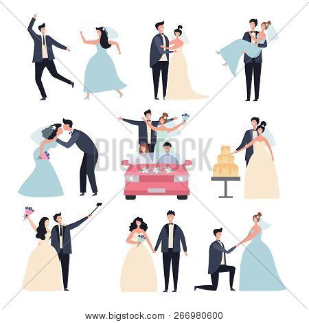 Wedding Couples. Bride Ceremony Celebration Wed Day Love Groom Marriage Rings Vector Characters. Bri