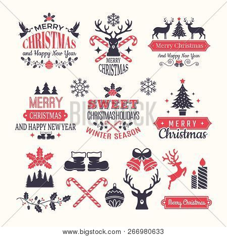 Christmas Holiday Labels. Vintage Winter Badges And Logos With Various Snow New Year Vector Elements