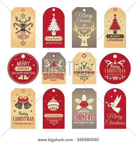 Christmas Labels. Holiday Tags And Badges With Funny Winter New Year Elements And Vector Snow Illust