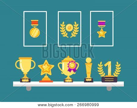Achievements On Shelves. Wall Trophy Golden Cups And Medals In Frames For Sport Victory Vector Conce