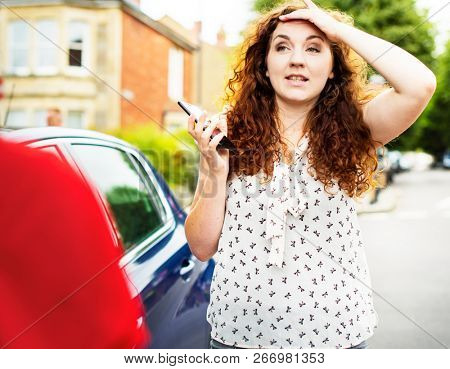 Women looking distraught after a car accident