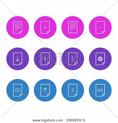 Vector Illustration Of 12 Page Icons Line Style. Editable Set Of Download, Contract, Html And Other