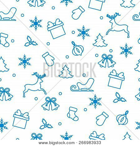 Happy New Year 2019 And Christmas Seamless Pattern. Winter Illustration With Mittens, Sled, Gift, Sn