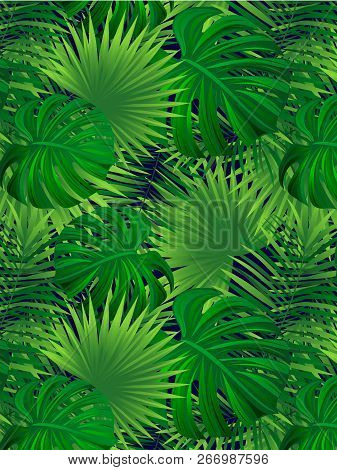 Tropical Forest Vector Illustration. Tropic Background. Jungle Seamless Texture. Verticalal Border F