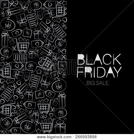 Black Friday. White Signs Arranged In A Rectangle. Web Banner, Logo, Emblem And Label. Inscription D