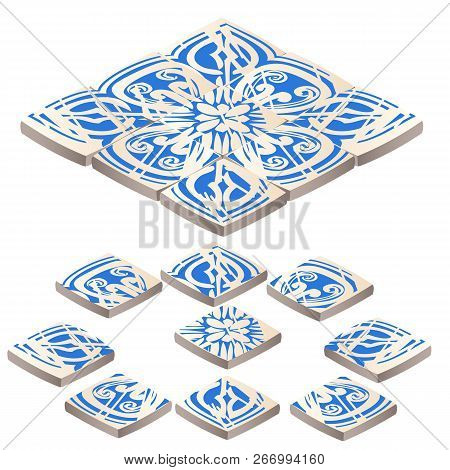 Set Of Floor Tile With Ornament Blue Color In The Style Of The Frosty Patterns Isolated On White Bac