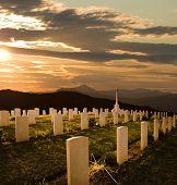 cemetery World War II at sunset poster