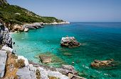 beach of Mylopotamos - Tsagarada - one of the most beautiful beaches of Pelion, Greece poster