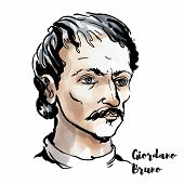 Giordano Bruno watercolor vector portrait with ink contours. Italian Dominican friar, philosopher, mathematician, poet, and cosmological theorist. poster