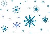 a blue snowflakes collection on white background poster