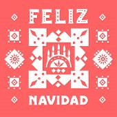 """Vector concept of festive card. Stylized Candlestick and lettering """"Feliz Navidad"""" (Merry Christmas, Spanish) on a red background. poster"""