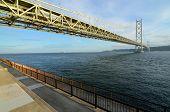 Akashi Kaikyo bridge in Kobe, Japan spanning the Seto Inland Sea. poster