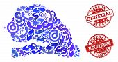 Business Contacts combination of blue mosaic map of Senegal and rubber seal stamps. Vector red watermarks with distress rubber texture have MADE IN and READY FOR BUSINESS texts. poster