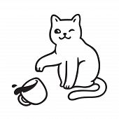 Cute mischievous cat throwing tea cup off table. Funny cats breaking things comic illustration, cartoon vector drawing. poster