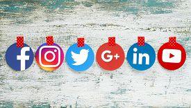 Kiev, Ukraine - September 27, 2018: Popular Round Social Media Icons Such As: Facebook, Twitter, Ins