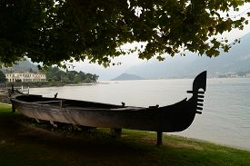 Old Gondola In The Gardens Of Villa Melzi, One Of The Most Beautiful Tourist Attractions In Bellagio