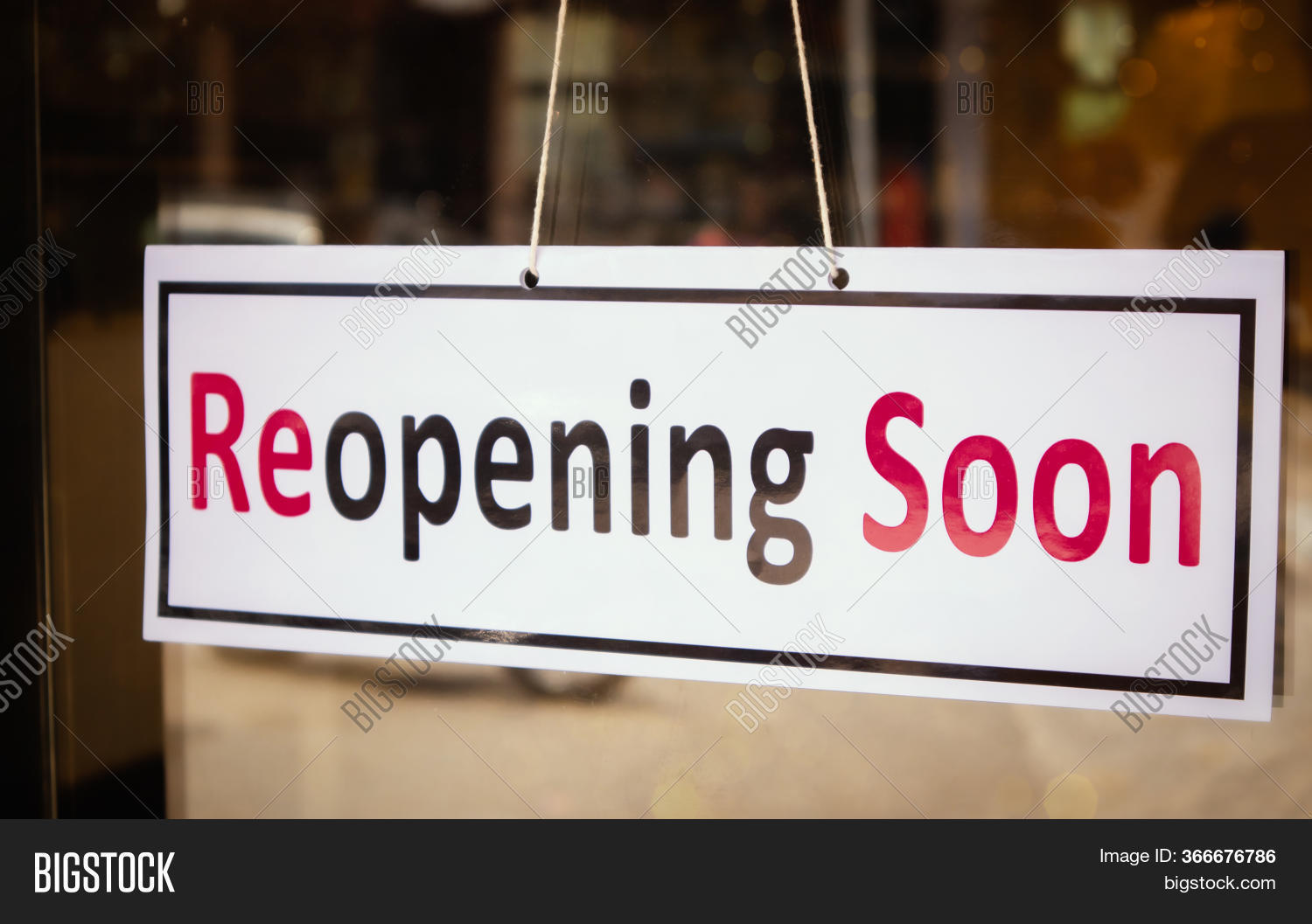 Reopening Soon Signage Board In Front Of Businesses Or Restaurant Door After Covid-19 Or Coronavirus